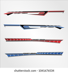 Vinyls sticker Decals for Car modify Motorcycle sport Racing Vehicle Graphics in isolated vector template design race elegant stripes modern futuristic techno red blue color simple power