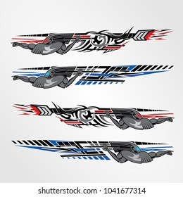 Vinyls sticker Decals Car modify Motorcycle sport Racing Vehicle Graphics  isolated vector template design race elegant stripes modern futuristic techno red blue power war soldier Sparta gladiator