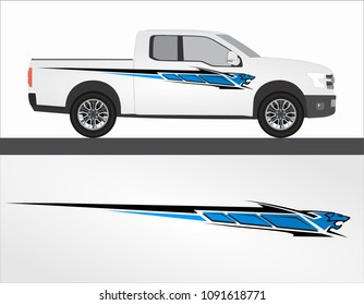Vinyls sticker Decals for Car, truck, 4x4. Racing Vehicle Graphics in isolated vector design race. Elegant blue and black modern stripes