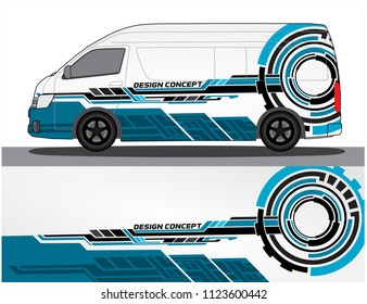 Vinyls sticker Decals for Car truck van branding modify mini bus. Racing Vehicle Graphics kit isolated vector design race Elegant stripes modern concept technology background for wrap and vinyl