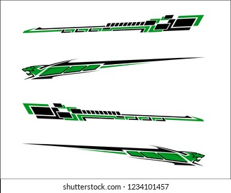 Vinyls sticker set Decals for Car truck mini bus modify Motorcycle. Racing Vehicle Graphics kit isolated vector design race Elegant stripes modern theme technology background for wrap