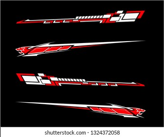 Vinyls sticker set Decals for Car racing truck mini bus modify Motorcycle. Racing Vehicle Graphics kit isolated vector design race Elegant stripes modern theme technology black background for wrap