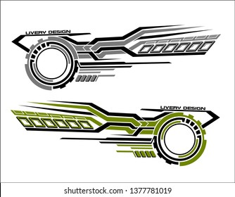 Vinyls sticker set Decals for Car truck mini bus modify Motorcycle. Racing Vehicle Graphics kit isolated vector liberty walk design race Elegant stripes modern theme technology white background wrap