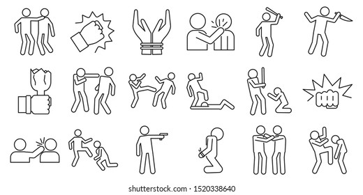 Violence abuse icons set. Outline set of violence abuse vector icons for web design isolated on white background