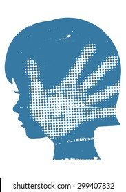 Violence against children. Little girl head silhouette with with hand print after hand slap. Vector available.