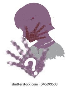 Violence against children. Little girl head grunge silhouette with with hand print after hand slap and question mark. Vector available.