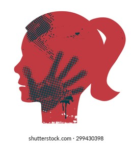 Violence against woman. Young Woman head grunge silhouette with hand print on the face. Vector available.