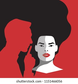 violence against women - Woman Manterrupting in Red Cool Background