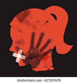 Violence against women. Young woman grunge silhouette with hand print on the face and with taped mouth. Vector available.