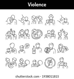 Violence color line icons set. Harassment, family abuse and bullying.  Pictograms for web page, mobile app, promo. UI UX GUI design element. Editable stroke.