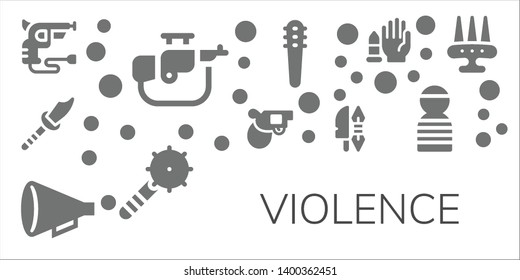 violence icon set. 11 filled violence icons.  Simple modern icons about  - Revolver, Rifle, Weapon, Pistol, Protest, Weapons, No weapons, Prisioner