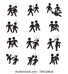 Violence icon set. Vector. Bar fight, street fight and others.