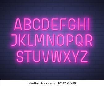 Violent neon font on brick wall. Vector illustration.