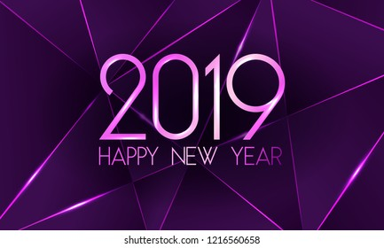 Violet 2019 Happy New Year card with premium polygonal gradient triangles and foil texture lines background. Festive rich design for holiday card, invitation, calendar poster. Happy 2019 New Year text