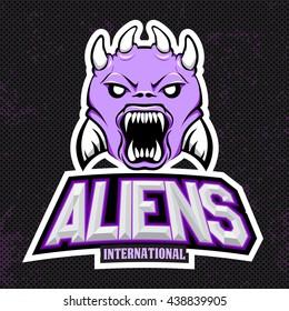 Violet alien modern logo for a sport team. Premade logotype with naming. Vector illustration