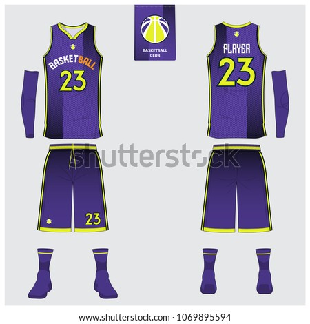 fc5600a6049 Violet Basketball jersey or sport uniform template design for basketball  club. Front and back view sport t-shirt design. Tank top t-shirt mock up  with ...