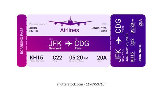 Violet boarding pass isolated on a white background. Vector illustration.