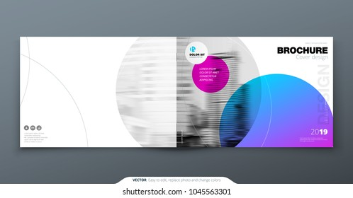 Violet Brochure design. Horizontal cover template for brochure, report, catalog, magazine. Layout with gradient circle shapes and abstract photo background. Swiss style Brochure concept