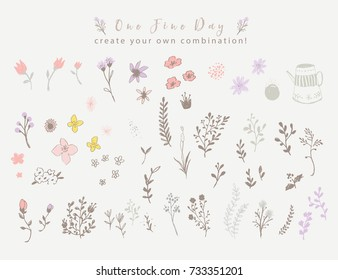 Violet and Brown Floral Elements, Vector Poster with Rustic Flowers, Greeting Card, Soft Floral Background, Pastel Color Flowers