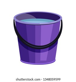 Violet bucket illustration. Basket, home, cleaning. Houseware concept. Vector illustration can be used for topics like home, cleaning, houseware