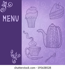 Violet card with tea accessories and doodle foliage
