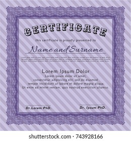 Violet Certificate of achievement. With background. Detailed. Retro design.