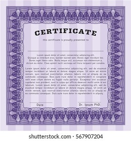 Violet Certificate of achievement. With background. Money Pattern design. Vector illustration.