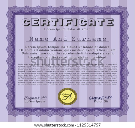 violet certificate achievement template easy print stock vector