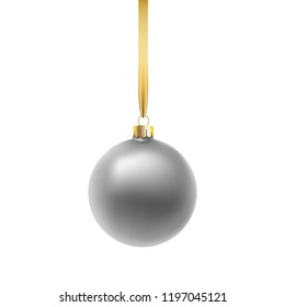 Violet Christmas ball, isolated on white background. Vector illustration.