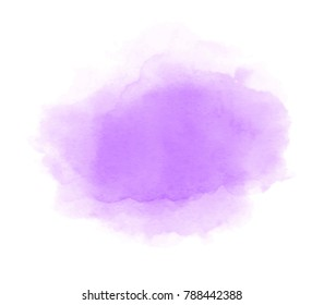 Violet color aquarelle hand drawn paper texture grunge shape isolated vector stain on white background. Colorful bright drawing watercolor wash liquid element for art design, poster, wallpaper, tag