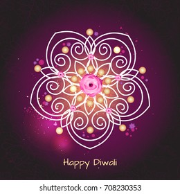 Violet color background design for Diwali festival with rangoli. Vector illustration. Deepavali light and fire festival.