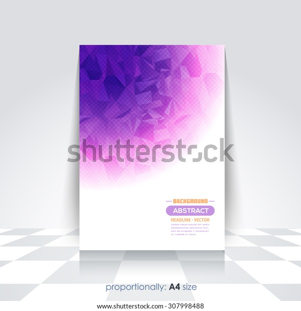 Violet Colors Low Poly Style A4 Flyer. Cover Template, Corporate Leaflet, Brochure Design