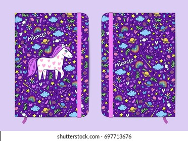 Violet copybook template with elastic band and bookmark with Cute handdrawn unicorn pattern. Unicorn and magic stuff. Girls note, magic diary. Miracle and magic creature. Vector illustration.