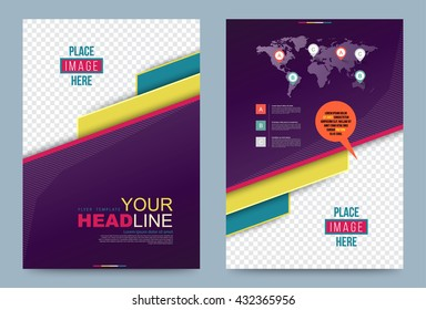 Violet Cover design template. Vector illustration. Use for annual report brochure flyer, Leaflet presentation background, Front and back layout in A4 size