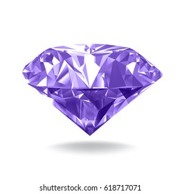 Violet diamond. Realistic vector illustration