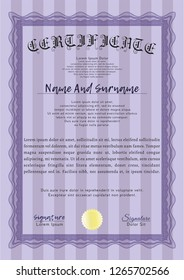 Violet Diploma. Vector illustration. With guilloche pattern and background. Money style design.