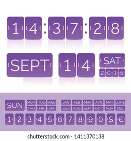 Violet flat calendar with analog countdown timer and scoreboard numbers. Vector EPS10 illustration