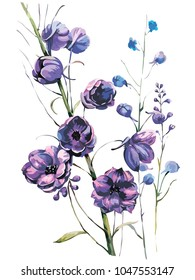 Violet flowers with branches and leaves. Vector