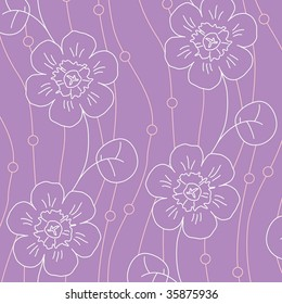 Violet flowers. Seamless vector pattern with violet flowers.