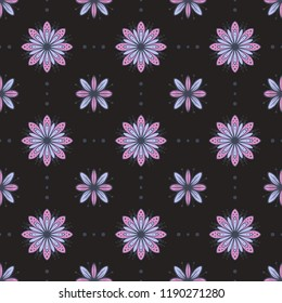 Violet flowers vector seamless pattern on dark background