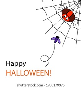 Violet fly flying to the red spider. Cartoon big spider sitting on a web. A smiling arachnid catches a fly. Flat Halloween vector illustration. Happy Halloween text. For card, invitation.