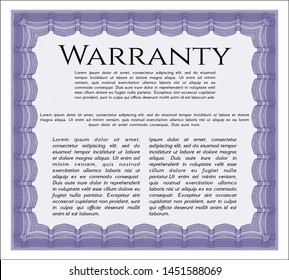 Violet Formal Warranty Certificate template. Easy to print. Customizable, Easy to edit and change colors. Lovely design.
