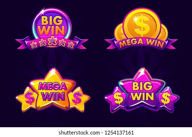 Violet four gambling icons for lottery or casino, big and mega win, Isolated icon