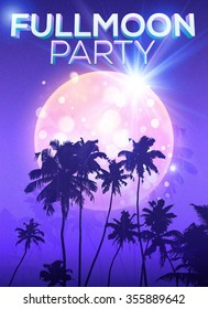 Violet fullmoon party vector poster template with big moon and dark palms silhouettes