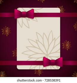 Violet and gold vintage greeting card template with bow and ribbon. Vector wedding invitation design. Anniversary template design for any celebration. Marriage, birthday, christmas, baby shower flyer.