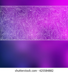 Violet gradient abstract vector background with white lace feathers in line. Great for wedding design invitation card, women merchandise advertisement, beauty salon and cosmetic items