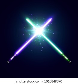 Violet and green crossed light neon swords with trembling blades fight. Laser sabers war. Glowing rays in space. Battle elements with star, flash and particles. Colorful vector illustration.