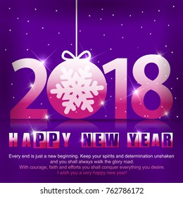 Violet Greeting card with a New Year 2018. Beautiful pink numbers with snowflake inside of ball.