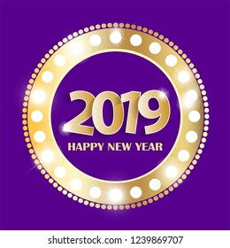 Violet Happy New Year 2019 greeting card concept with golden numbers in vintage shining gold ring. Vector illustration