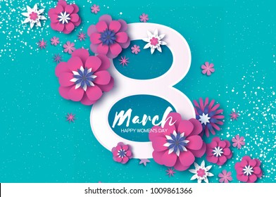 Violet Happy Women s Day. Violet 8 March. Trendy Mother s Day. Paper cut Floral Greeting card. Origami flowers. Spring blossom. Seasonal holiday. Eight number frame. Trendy paper decoration.